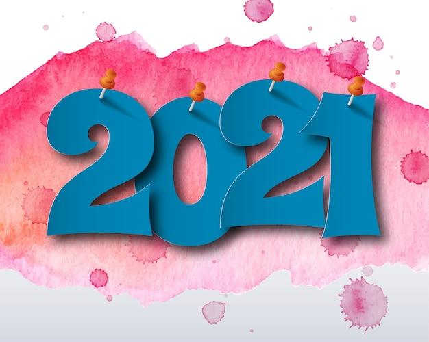 Szczęśliwego nowego roku 2021 motyw akwarela. kartka z życzeniami 2021. abstrakcyjne tło.