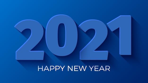 Szczęśliwego nowego roku 2021 niebieskie tło.