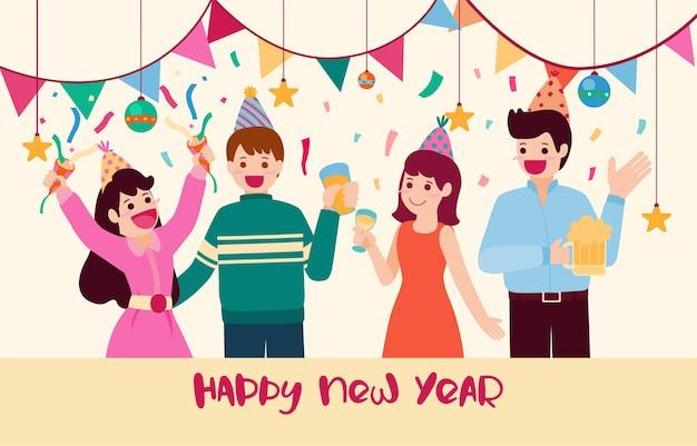 Szczęśliwego nowego roku 2021 party plakat lub baner z ikonami pudełka