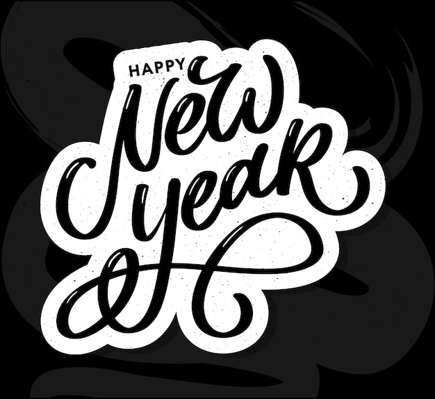 Szczęśliwego nowego roku 2021 piękny plakat z życzeniami z kaligrafii czarny tekst słowo złote fajerwerki. ręcznie rysowane elementy projektu. odręcznie napis nowoczesny pędzel białe tło na białym tle