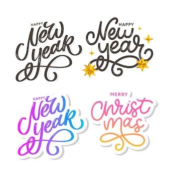 Szczęśliwego nowego roku 2021 piękny plakat z życzeniami z kaligrafii czarny tekst słowo złote fajerwerki.