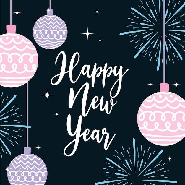 Szczęśliwego nowego roku 2021 piłki dekoracji fajerwerków i ręcznie rysowane napis