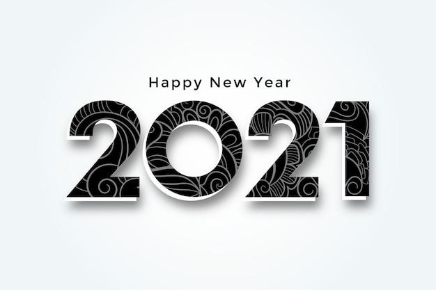 Szczęśliwego nowego roku 2021 projekt tła w stylu 3d