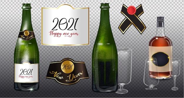 Szczęśliwego nowego roku 2021. realistyczna zieleń ze złotą zamkniętą butelką szampana na przezroczystym tle. pusty szablon reklamy pakowania produktu.
