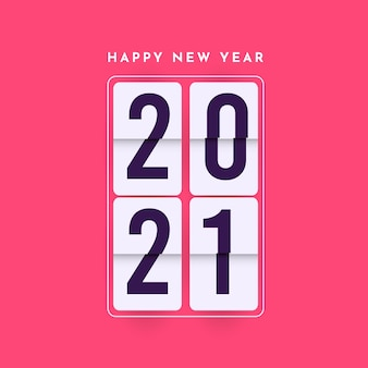 Szczęśliwego nowego roku 2021 szablon. projekt kalendarza, baner lub wydruk.