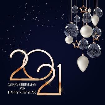 Szczęśliwego nowego roku 2021 szablon tło wakacje.