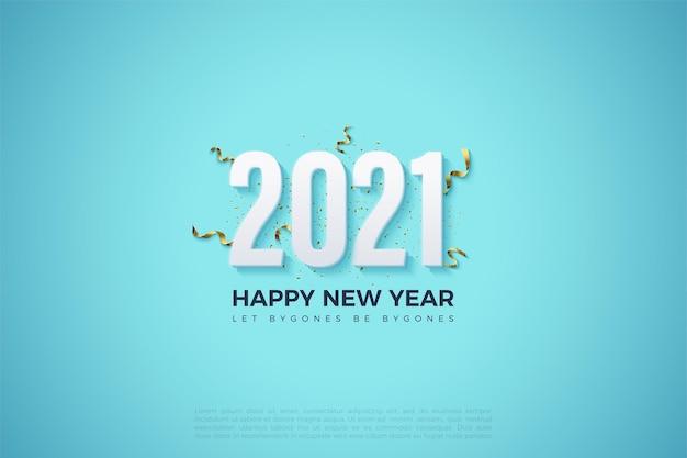 Szczęśliwego nowego roku 2021 tło z białymi cyframi i niebieskim tle nieba