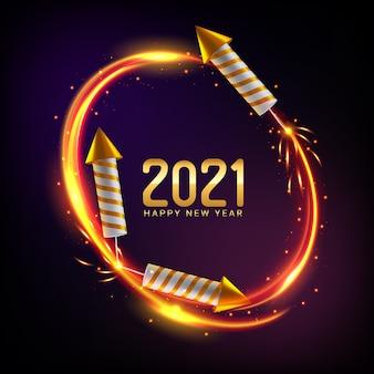 Szczęśliwego nowego roku 2021 tło z fajerwerkami