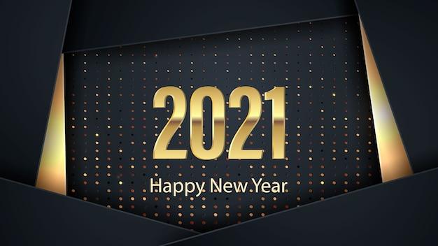 Szczęśliwego nowego roku 2021 transparent. elegancki design czarnych i złotych cyfr na czarnym tle. elementy kalendarza i kart okolicznościowych, tekst, aplikacje mobilne.