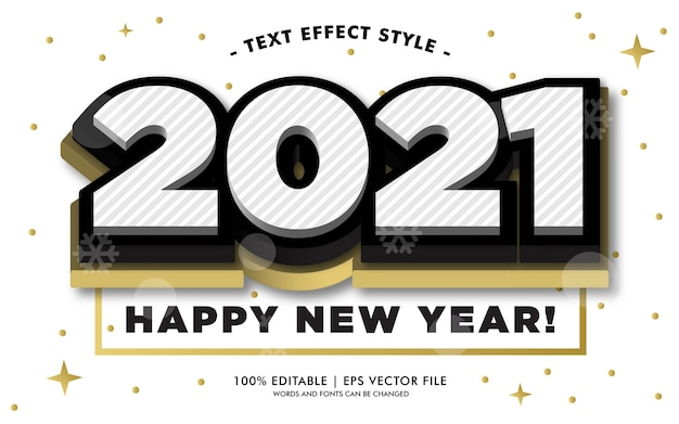 Szczęśliwego nowego roku 2021 w stylu białego złota tekstu