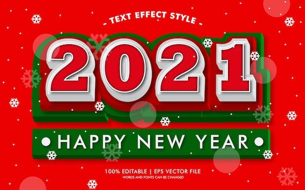 Szczęśliwego nowego roku 2021 w stylu efektów czerwonego tekstu