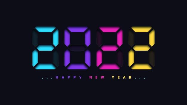 Szczęśliwego nowego roku 2021 w stylu zegara cyfrowego!