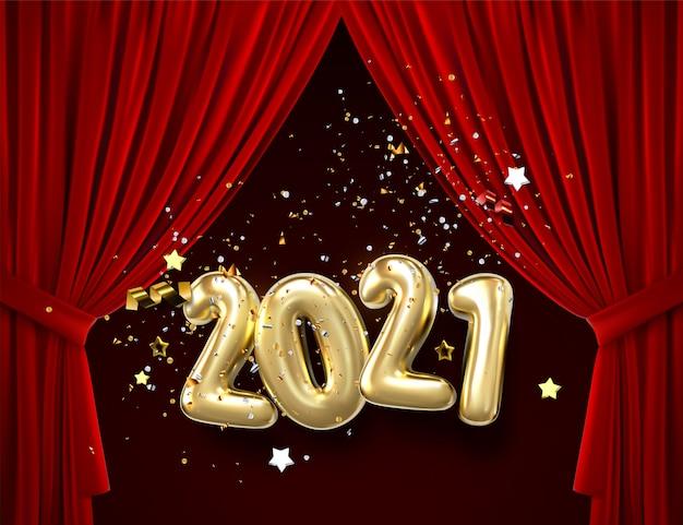 Szczęśliwego nowego roku 2021. wakacyjna ilustracja złote kruszcowe liczby. pusta scena z czerwoną kurtyną i reflektorami.