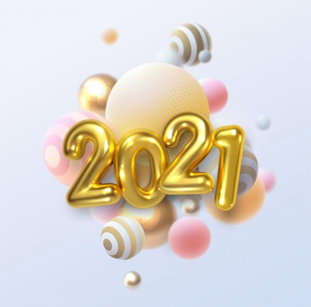 Szczęśliwego nowego roku 2021. wakacyjna ilustracja złotych metalicznych liczb 2021 i abstrakcyjne kulki lub bąbelki.