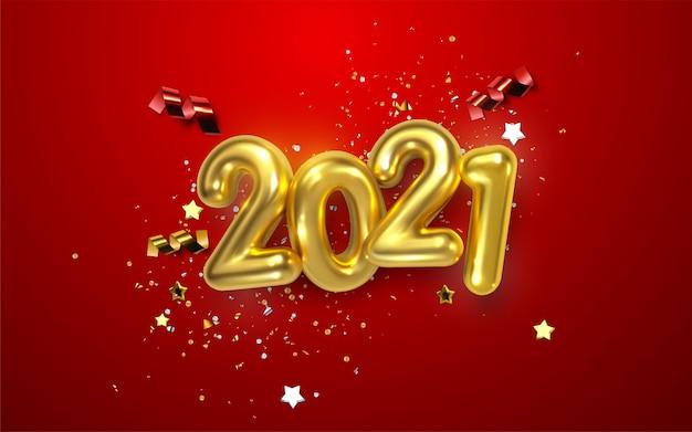 Szczęśliwego nowego roku 2021. wakacyjna ilustracja złotych metalicznych liczb 2021.