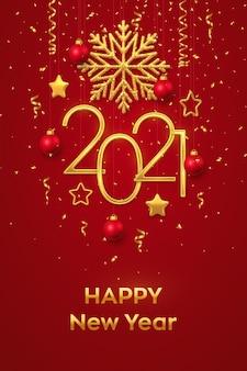 Szczęśliwego nowego roku 2021. wiszące złote metaliczne cyfry 2021 z błyszczącym płatkiem śniegu, metalicznymi gwiazdami 3d, kulkami i konfetti.