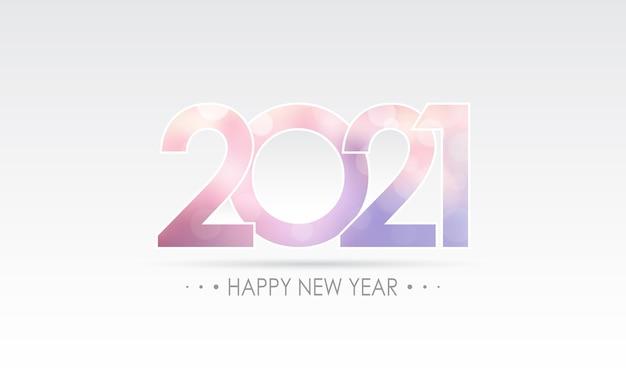 Szczęśliwego nowego roku 2021 z abstrakcyjnym fioletowym kolorem