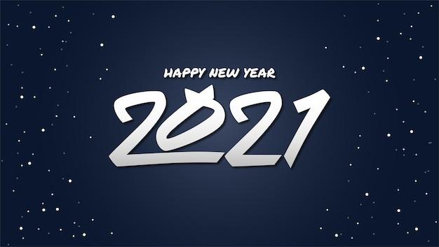 Szczęśliwego nowego roku 2021 z białym tekstem i gwiazdami