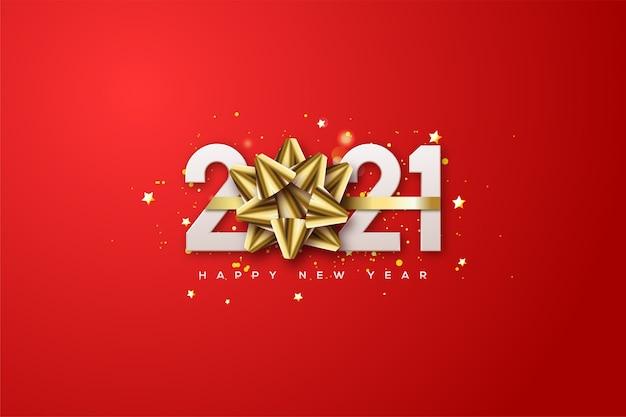 Szczęśliwego nowego roku 2021 z białymi cyframi i złotą wstążką zastępującą cyfrę 0