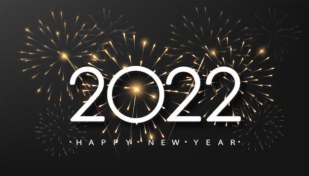 Szczęśliwego nowego roku 2021 z błyszczącymi fajerwerkami na ciemnym tle. koncepcja wystroju świątecznego, karty, plakatu, banera, ulotki.
