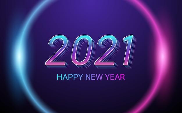 Szczęśliwego nowego roku 2021 z efektem czcionki 3d na tle koloru światła neonowego