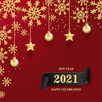 Szczęśliwego nowego roku 2021 z gwiazdą na czerwonym tle.