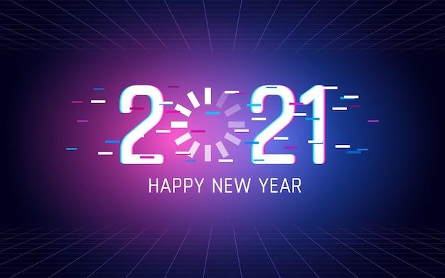 Szczęśliwego nowego roku 2021 z ładowaniem efektu czcionki usterki na tle koloru światła neonowego