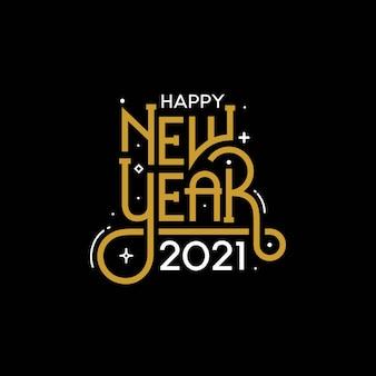 Szczęśliwego nowego roku 2021 z napisem w stylu typografii
