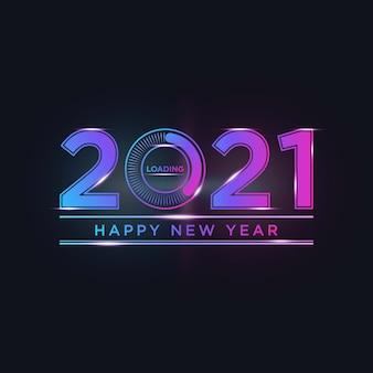 Szczęśliwego nowego roku 2021 z paskiem ładowania w kolorze światła neonowego