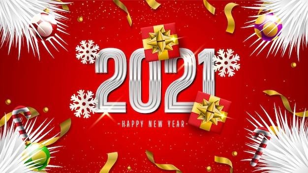 Szczęśliwego nowego roku 2021 z pudełkami na prezenty, płatkami śniegu i konfetti