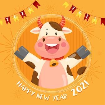 Szczęśliwego nowego roku 2021 z uśmiechniętą postacią anturium