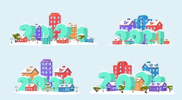 Szczęśliwego nowego roku 2021 z zimowym krajobrazem w mieście w wigilię bożego narodzenia. 2021 na panoramiczny zimowy krajobraz w parku miejskim ze śniegiem.