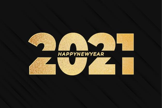 Szczęśliwego nowego roku 2021 ze złotym efektem i abstrakcją