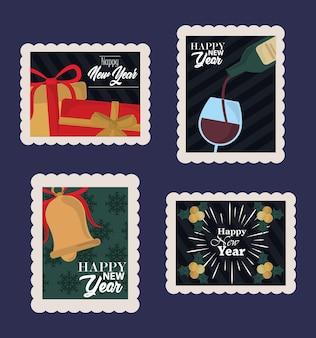 Szczęśliwego nowego roku 2021, zestaw ikon znaczków pocztowych zawiera prezent