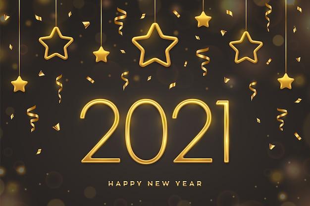 Szczęśliwego nowego roku 2021. złote metalowe numery 2021 z wiszącymi złotymi gwiazdami na ciemnym tle.