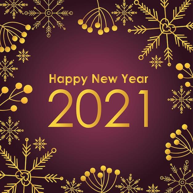 Szczęśliwego nowego roku 2021 złote sformułowanie i numer z płatkami śniegu i liśćmi w ramce