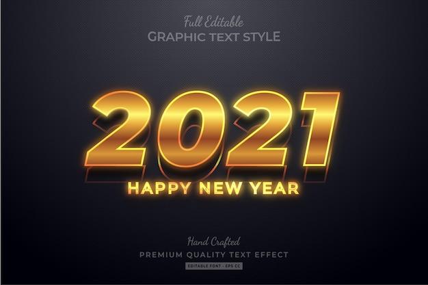 Szczęśliwego nowego roku 2021 złoty edytowalny efekt premium text style