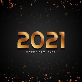 Szczęśliwego nowego roku 2021 złoty tekst nowoczesne tło