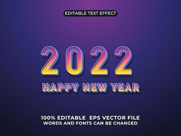 Szczęśliwego nowego roku 2022 3d edytowalne efekty tekstowe na tle gradientu