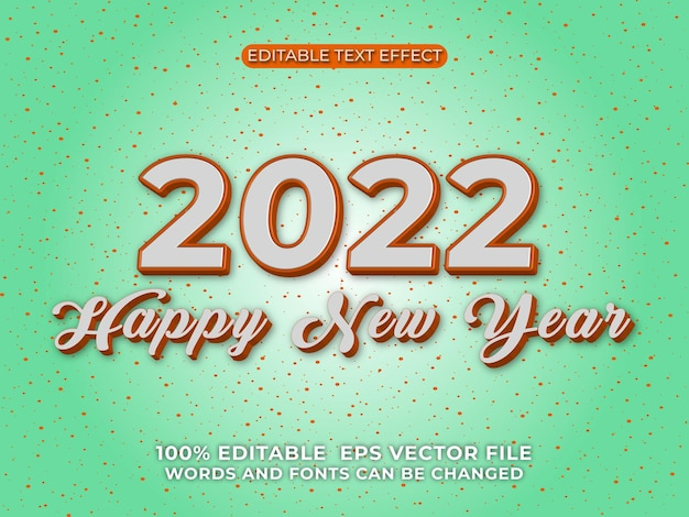 Szczęśliwego nowego roku 2022 3d edytowalny efekt tekstowy na tle