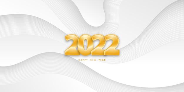 Szczęśliwego nowego roku 2022 białe faliste tło ze złotymi numerami 3d