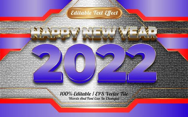 Szczęśliwego nowego roku 2022 biało-niebieski złoty efekt tekstowy do edycji