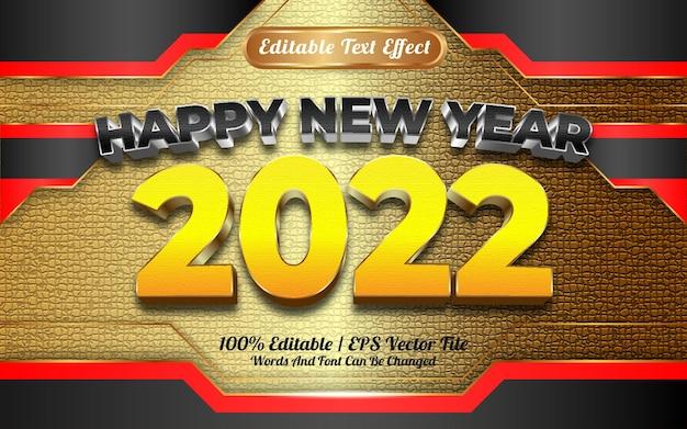 Szczęśliwego nowego roku 2022 czarno-żółta złota tekstura z edytowalnym efektem tekstowym