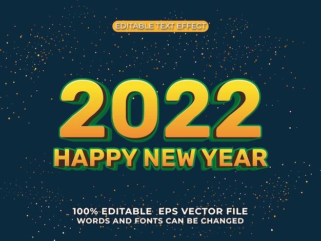 Szczęśliwego nowego roku 2022 edytowalny efekt tekstowy na gradientowym tle