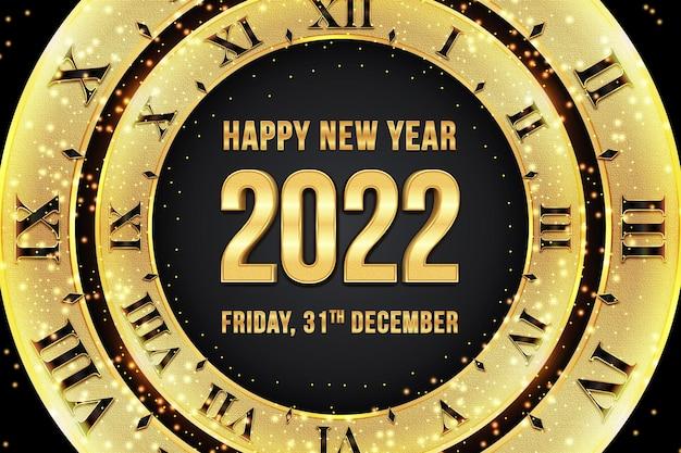 Szczęśliwego nowego roku 2022 edytowalny efekt tekstowy w stylu czarnego złota z zegarem