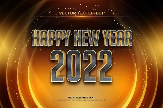 Szczęśliwego nowego roku 2022 edytowalny efekt tekstowy z czarnym złotym stylem backround