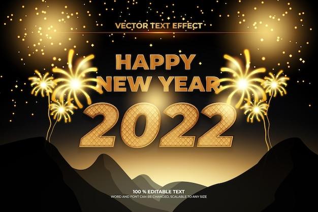 Szczęśliwego nowego roku 2022 edytowalny efekt tekstowy z fajerwerkowym stylem tła