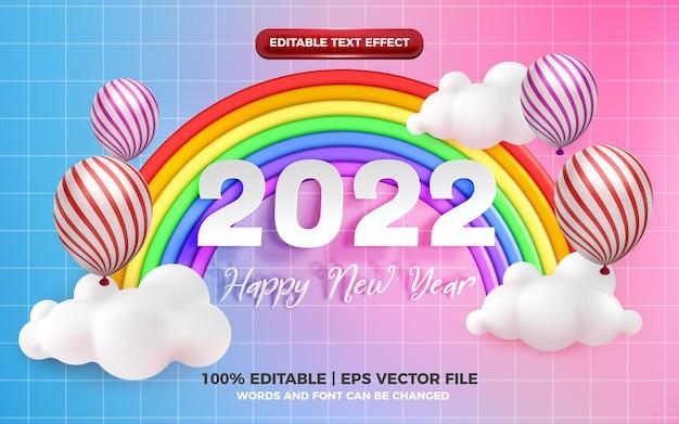 Szczęśliwego nowego roku 2022 edytowalny efekt tekstowy z uroczym, tęczowym stylem kreskówki