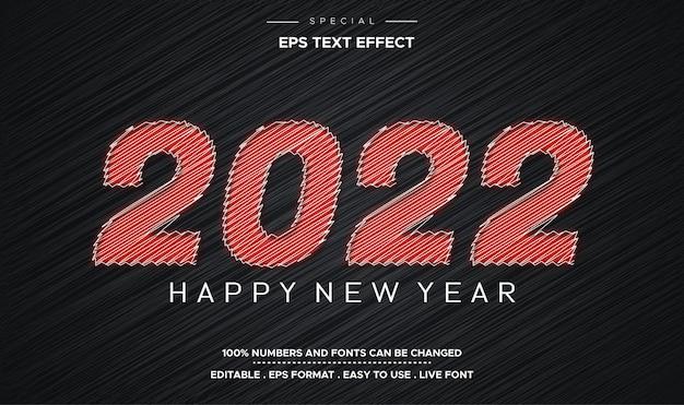 Szczęśliwego nowego roku 2022 edytowalny szablon efektu stylu tekstu bazgrołów