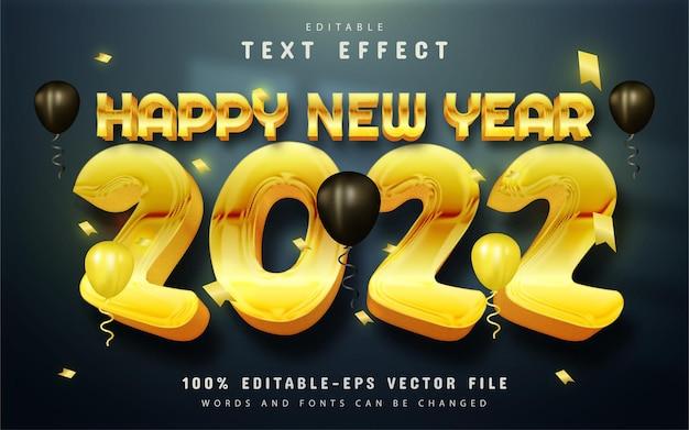 Szczęśliwego nowego roku 2022 efekt tekstowy w złotym stylu
